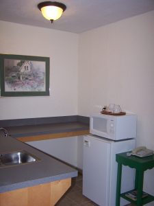 Single Queen Room Downstairs Kitchenette